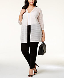 Alfani Plus Size Sheer-Stripe Duster Cardigan, Created for Macy's