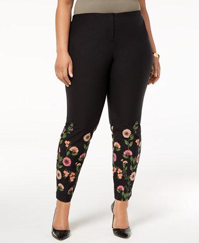 Alfani Plus Size Floral-Print Skinny Pants, Created for Macy's