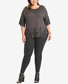 Eyeshadow Trendy Plus Size Lace-Trim T-Shirt