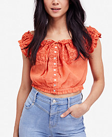 Free People Eyelet You A Lot Cotton Cropped Top
