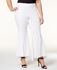 I.N.C. Plus Size Flared High-Low Hem Pants, Created for Macy's