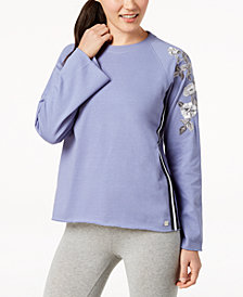 Calvin Klein Performance Floral-Trim Sweatshirt