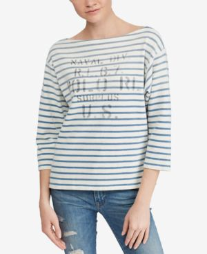 STRIPED BOATNECK COTTON SHIRT