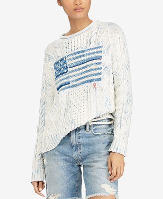 Polo Ralph Lauren Indigo Graphic Cotton Sweater Sweaters Women