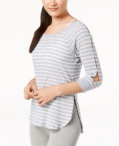 Calvin Klein Performance Highlight Striped Cutout-Sleeve Top