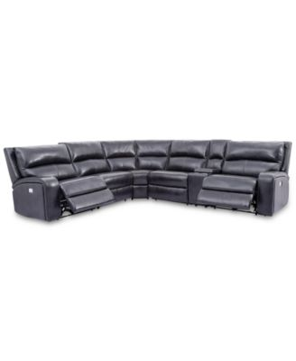 Brant 6-Pc. Leather Sectional Sofa With 2 Power Recliners, Power Headrests, Console And USB Power Outlet