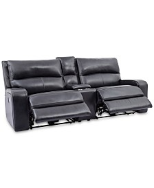"""CLOSEOUT! Brant 93"""" 3-Pc. Leather Power Reclining Sofa With 2 Power Recliners, Power Headrests, Console And USB Power Outlet"""