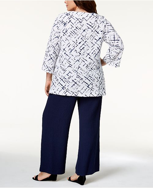 64aa9773a895d3 JM Collection Plus Size Crinkle Top & Wide-Leg Pants, Created for Macy's ...