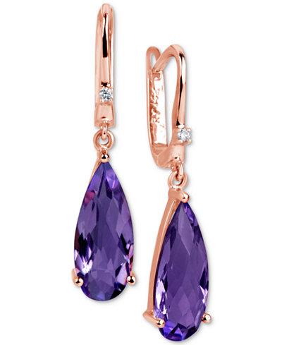 Amethyst (2-1/2 ct. t.w.) & Diamond Accent Drop Earrings in 14k Rose Gold