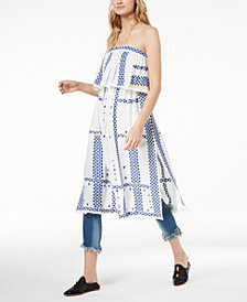 Free People Wild Romance Embroidered Strapless Dress