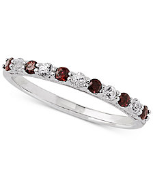 Certified Ruby (1/3 ct. t.w.) & White Sapphire Ring (1/4 ct. t.w.) in 14k White Gold