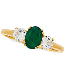 Emerald (3/4 ct. t.w.) & White Sapphire (5/8 ct. t.w.) Ring in 14k Gold