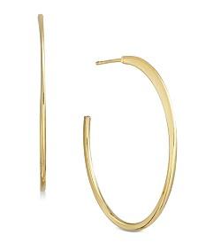 Essentials Medium Gold Plated Flat Post Hoop Earrings