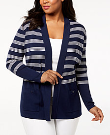 Anne Klein Plus Size Striped Cardigan