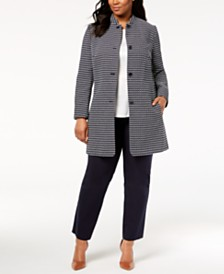 Anne Klein Plus Size Printed Coat