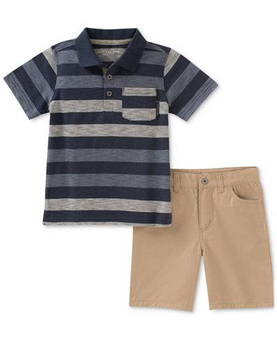 Calvin Klein 2-Pc. Striped Polo & Shorts Set, Little Boys
