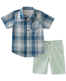 Calvin Klein 2-Pc. Plaid Cotton Shirt & Shorts Set, Little Boys