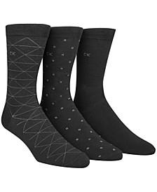 Men's Socks, Fashion Geometric Crew 3 Pack