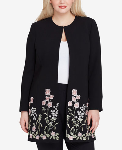 Tahari ASL Plus Size Embroidered Topper Jacket