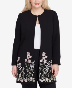 PLUS SIZE EMBROIDERED TOPPER JACKET