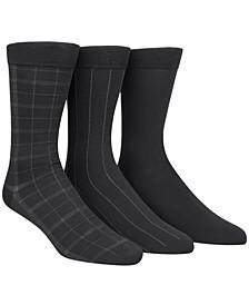 Microfiber Windowpane 3-Pack Dress Socks