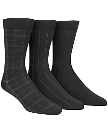 Calvin Klein Microfiber Windowpane 3-Pack Dress Socks