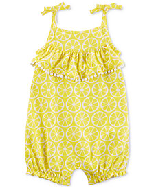 Carter's Lemon-Print Cotton Romper, Baby Girls