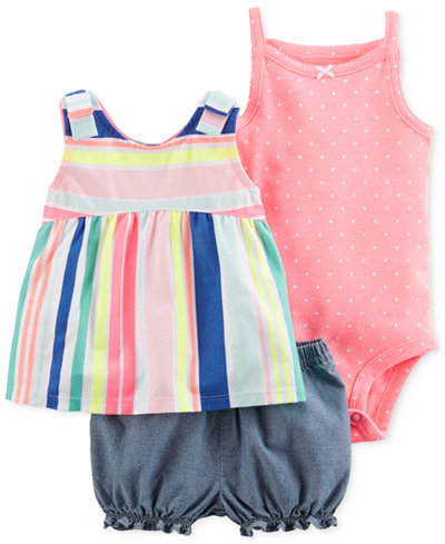 Carter's 3-Pc. Tunic, Bodysuit & Shorts Set, Baby Girls