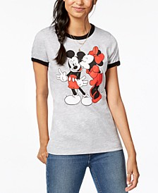 Juniors' Mickey & Minnie Graphic-Print T-Shirt