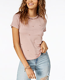 American Rag Juniors' Cutout Faux-Pearl-Embellished T-Shirt, Created for Macy's