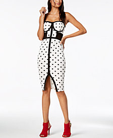 Material Girl Juniors' Printed Illusion Midi Dress, Created for Macy's