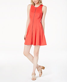 Bar III Zip-Front Scuba Dress, Created for Macy's