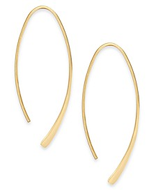 Medium Silver Plated Polished Wire Threader Earrings