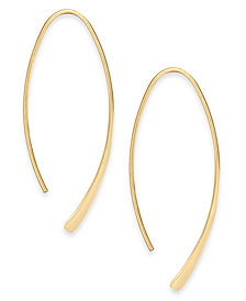 Essentials Medium Silver Plated Polished Wire Threader Earrings