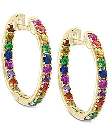 Watercolors by EFFY® Multi-Gemstone Hoop Earrings (1-3/4 ct. t.w.) in 14k Gold