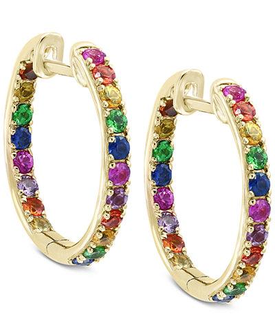 Watercolors by EFFY® Multi-Gemstone Hoop Earrings (1-3/4 ct. t.w.) in 14k Gold
