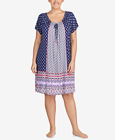 Ellen Tracy Plus Size Short Sleeve Sleepshirt
