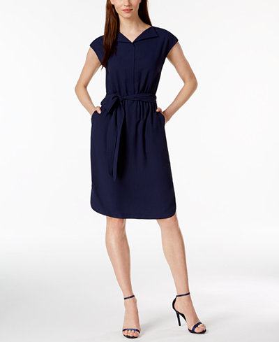 Anne Klein Open-Collar Cap-Sleeve Shirtdress