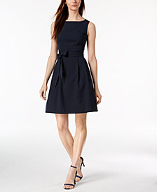 Anne Klein Seersucker Fit & Flare Dress