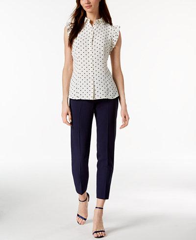 Anne Klein Ruffled Dot-Print Blouse & Bowie Pants