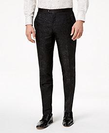 Tallia Orange Men's Modern-Fit Black Floral Paisley Pants