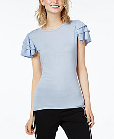 Bar III Ruffled Short-Sleeve Top, Created for Macy's