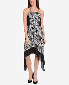 NY Collection Printed Handkerchief-Hem Dress
