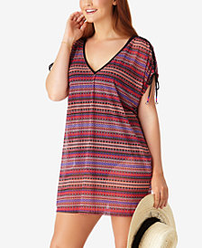 Anne Cole Plus Size Stevie Striped Shoulder-Tie Cover-Up