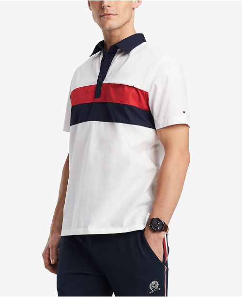 85235e9be ... Tommy Hilfiger Men's Ethan Pieced-Stripe Polo Shirt, Created for Macy's  ...