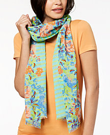 Echo Floral Trellis Cotton Scarf & Wrap In One
