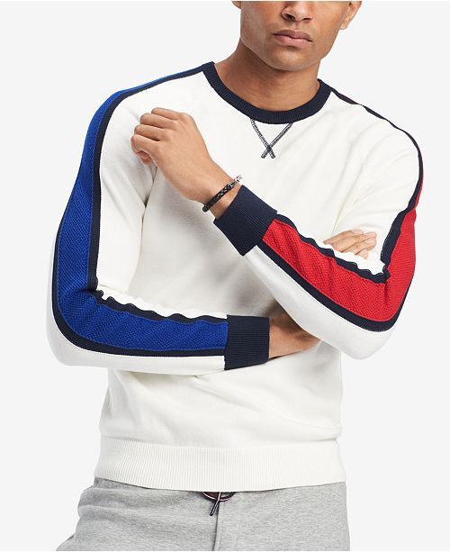 Tommy Hilfiger Mens Richard Colorblocked Raglan Sleeve Sweater