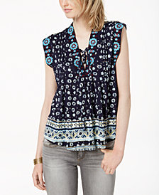 Lucky Brand Printed Lace-Up Top