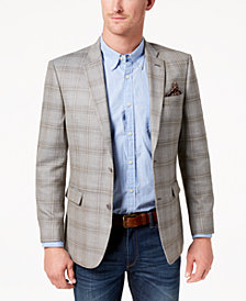 CLOSEOUT! Tommy Hilfiger Men's Modern-Fit Gray/Tan Plaid Sharkskin Silk and Wool Sport Coat