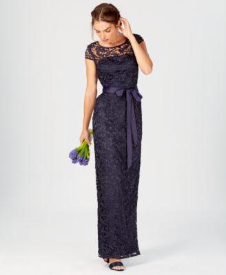 volume one neck cap sleeve lace dress